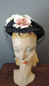 Vintage 1940s Floral Tilt Hat, Black Straw Topper with Veil