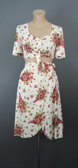 Vintage 1940s Rayon Jersey Top, Skirt & Shorts Set, Floral, 32 bust, Beau Jardin Cie