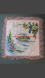 Vintage Atlantic City NJ 1940s Satin Pillow Cover with Fringe, Convention Hall Souvenir, unused