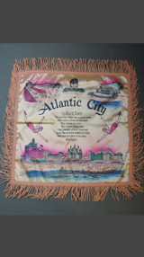Vintage Atlantic City NJ 1940s Satin Pillow Cover with Fringe, Mother Poem Souvenir, unused