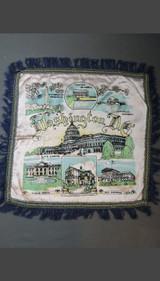 Vintage Washington DC 1940s Satin Pillow Cover with Fringe, Souvenir, unused