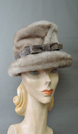 Vintage Faux Mink Fur Hat, 1960s fits 21 inch head