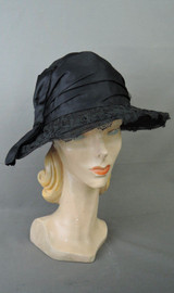 Vintage 1920s Silk & Lace Horsehair Hat, Lace Covered Wide Brim