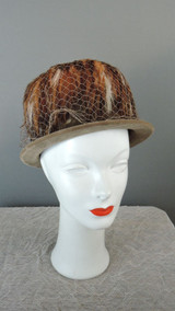 Vintage Brown Velvet & Feathers Hat 1960s, 22 to 23 inch head
