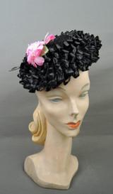 Vintage Black Floral Raffia Hat 1960s Pink & Velvet