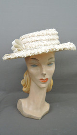 Vintage Ivory Straw Hat with Wide Brim, 1960s, 21 inch head