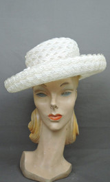 Vintage Sheer Woven Hat, Off White with Wide Brim, 1960s, 21 inch head