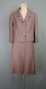 Vintage 1960s Suit, Brown Silk 38 Bust, 29 Waist Boxy Jacket and Slim Skirt