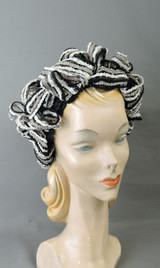 Vintage Loopy Straw Hat 1960s, Black, White & beige, fits any size