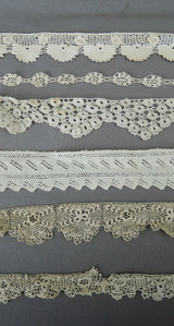 6 Pieces of Antique Lace Trims, Victorian Edwardian 1800s 1900s, Handmade lace Crochet