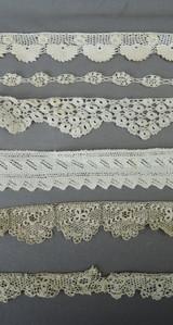 6 Pieces of Antique Lace Trims, Victorian Edwardian 1800s 1900s, Handmade lace Crochet