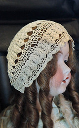 Antique Crochet Baby Bonnet Hat, Handmade 1900s, fits 16-17 inch head, Large Doll
