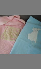 Two Vintage Baby Blankets, 1940s Pink & Blue, with issues Beacon Fabric