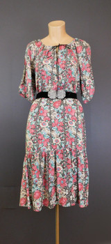 Vintage Floral Peasant Dress with Vest, Boho Hippie Gypsy, 1960s, 33 bust