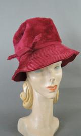 Vintage Dark Red Plush Hat 1960s fits 21 inch head, floppy brim