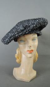 Vintage Grey Curly Faux Fur Hat Pancake, Persian Lamb fits 21 inch head 1960s