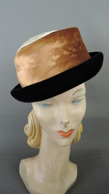 Vintage Ivory, Brown & Black Velvet Hat 1960s 21 inch head