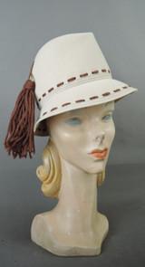 Vintage Ivory Felt Hat with Brown Yarn Tassel, Mr. John, fits 21 inch head 1960s