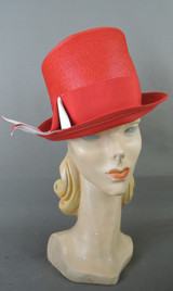 Vintage Red Straw Hat with Ribbon, 1960s, fits 22 inch head