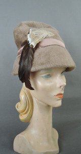 Vintage Mocha Plush Hat with Feathers, Sculpted 1960s, fits 21 inch head