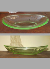 Vintage 1930s 1940s Green Depression Glass Relish Dish, As Is