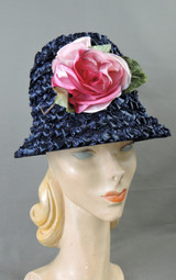Vintage Navy Straw Pink Floral Hat, 1960s Bucket, fits 21 to 22 inch head