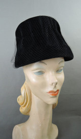 Vintage Black Velvet Felt Hat Covered in Tulle, 1960s 21 inch head