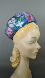Vintage Net Covered Floral & Feather Hat, 1960s Amy New York