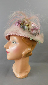 Vintage Pink Floral Hat with Feather, 1960s Straw, 21 inch head, Marian Thompson
