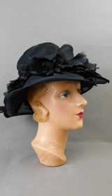 Vintage Sheer Black Organdy Hat with Wide Brim, 21 inch head 1960s, Emme