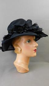Vintage Sheer Black Organdy Hat with Wide Brim, 21 inch head 1960s, Emme