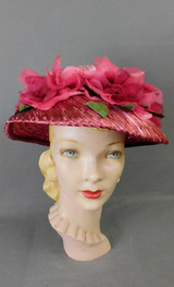 Vintage Dark Pink Floral Wide Brim Hat 1960s, Helen Richards
