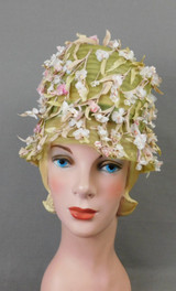 Vintage Green Mesh Floral Hat, 1960s Bucket, small 20 inch head, Mr. John Jr.