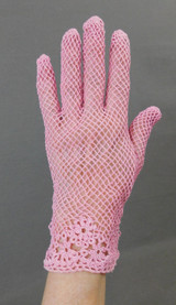 Vintage Bright Pink Crochet Lace Gloves, 1960s unworn size 6-1/2 to 7