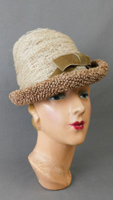 Vintage 1960s Cool Hat, brown Straw & ivory Netting, Curved Brim, 21 inch head