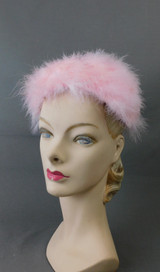 Vintage Light Pink Marabou Feather Hat 1960s 22 inch head