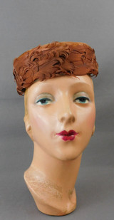 Vintage Brown Feather Pillbox Hat, 1960s, 22 inch head Topper