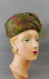 Vintage Olive Green Chiffon Hat with Multi Color Cut Velvet, 1960s