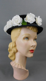 Vintage Black Straw Hat with White Flowers, 1940s, 22 inch head