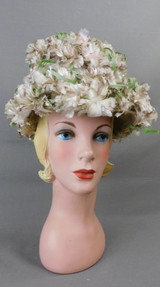 Vintage Taupe & White Floral Hat, 1960s 21 inch head, Howard Hodge