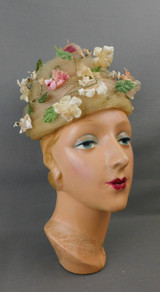 Vintage Ivory Netting Pink Flowers Hat 1960s, 22 inch head, Jackwell Originals