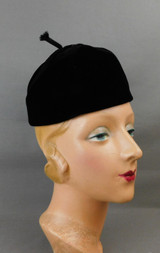 Vintage Black Velvet Hat with Ribbon on top, 1960s, 22 inch head, Coralie