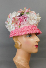 Vintage Pink Straw and White Floral Hat 1960s, Bucket, 21 inch head