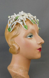 Vintage Ivory Velvet Buds Floral Hat 1950s Floral Wedding