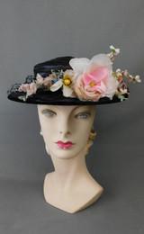 Vintage Sheer Black & Pink Floral 1940s Hat, New York Creation