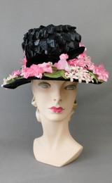 Vintage Black Straw Wide Brim Hat with Pink Flowers, 1960s