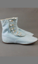 Victorian Pale Blue Button Up Boots for Little Girl, Antique Child Shoes 1800s, 6 inch foot