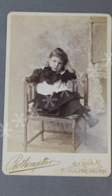 Vintage Victorian Girl in Chair Photo Cabinet Card 1800s Photograph, Rothengotter