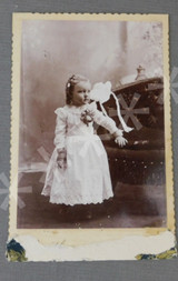 Vintage Victorian Little Girl Cabinet Card Photo, Eyelet Dress, Couch, 1800s Photograph