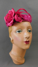 Vintage Dark Pink Floral Hat with Feathers, Sheer Silver Top, 1960s